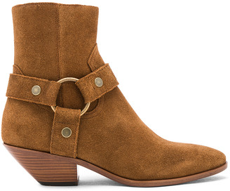 Saint Laurent Suede West Strap Ankle Boots in Hazelnut | FWRD