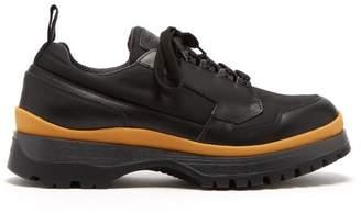 Prada Brixxen Low Top Leather Shoes - Mens - Black Brown
