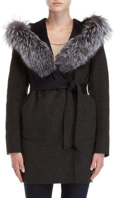 Intuition Real Fur Trim Wrap Coat