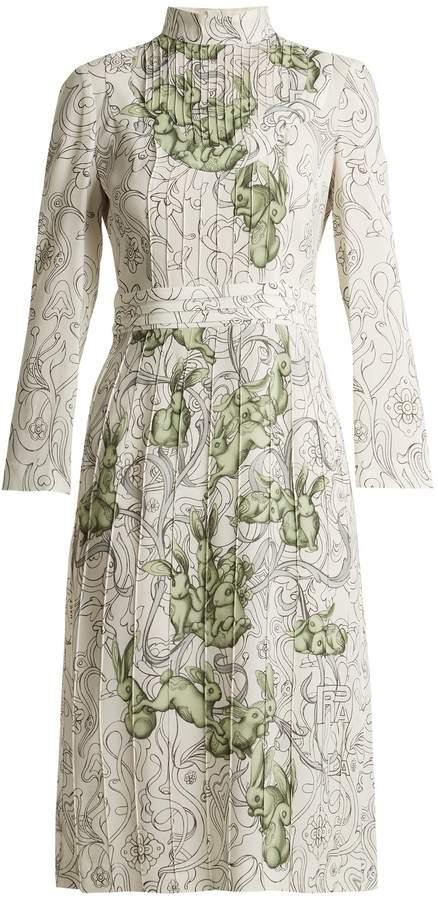 PRADA Rabbit-print pintucked crepe dress