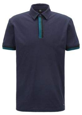 BOSS Hugo Relaxed-fit pique polo shirt striped tape trims M Dark Blue