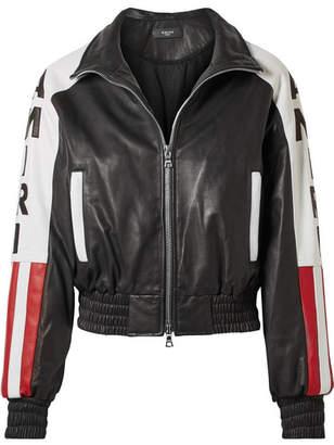 Amiri Embroidered Apliquéd Leather Bomber Jacket - Black