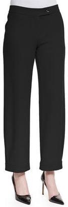 Armani Collezioni Techno Cady Wide-Leg Trousers, Black $595 thestylecure.com