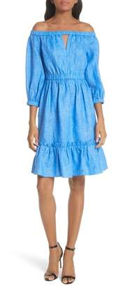 Milly Amanda Off the Shoulder Italian Linen Dress