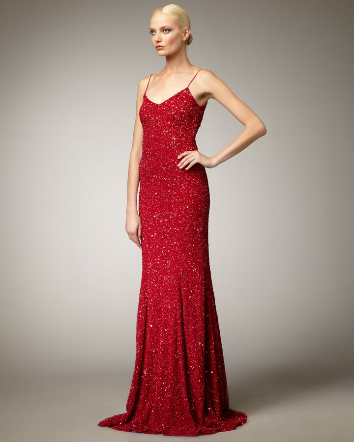 Theia Sequin Slip Gown