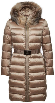 Moncler Tinuviel Quilted Down Coat with Fur-Trimmed Hood