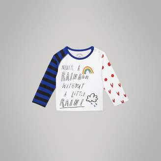 Burberry Long-sleeve Rainbow Graphic Cotton Top