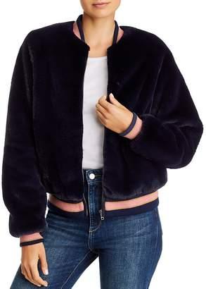 Mother The Letterman Faux Fur Varsity Jacket