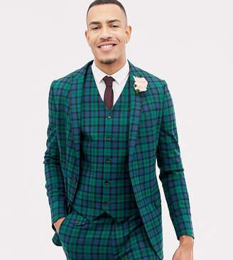 Asos Design DESIGN Tall wedding skinny suit jacket in blackwatch tartan