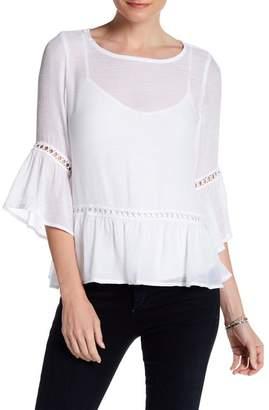 Bobeau Crochet Inset Bell Sleeve Blouse $62 thestylecure.com