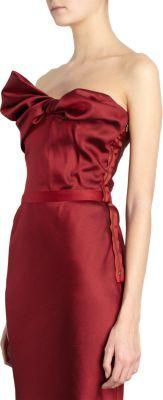 Lanvin Twist Bow Front Strapless Gown