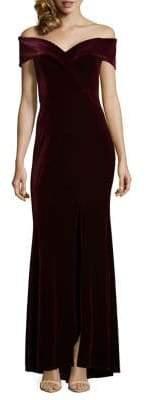 Xscape Evenings Petite Off-The-Shoulder Velvet Gown