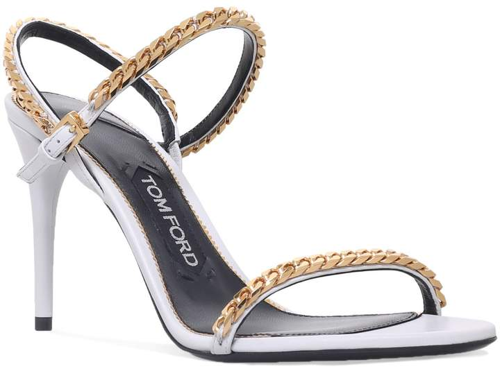 TOM FORD Leather Chain Sandals 80, White, IT 36