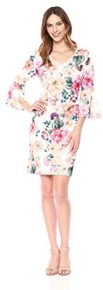 Ronni Nicole Women's 3/4 Sleeve Floral Sheath Dress