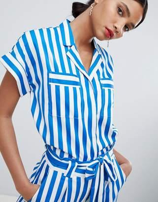 Y.A.S Stripe Short Sleeve Blouse