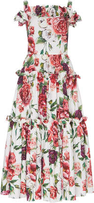 Dolce & Gabbana Off-The-Shoulder Peony-Print Midi Dress