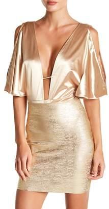 Wow Couture Cold Shoulder Satin Bodysuit