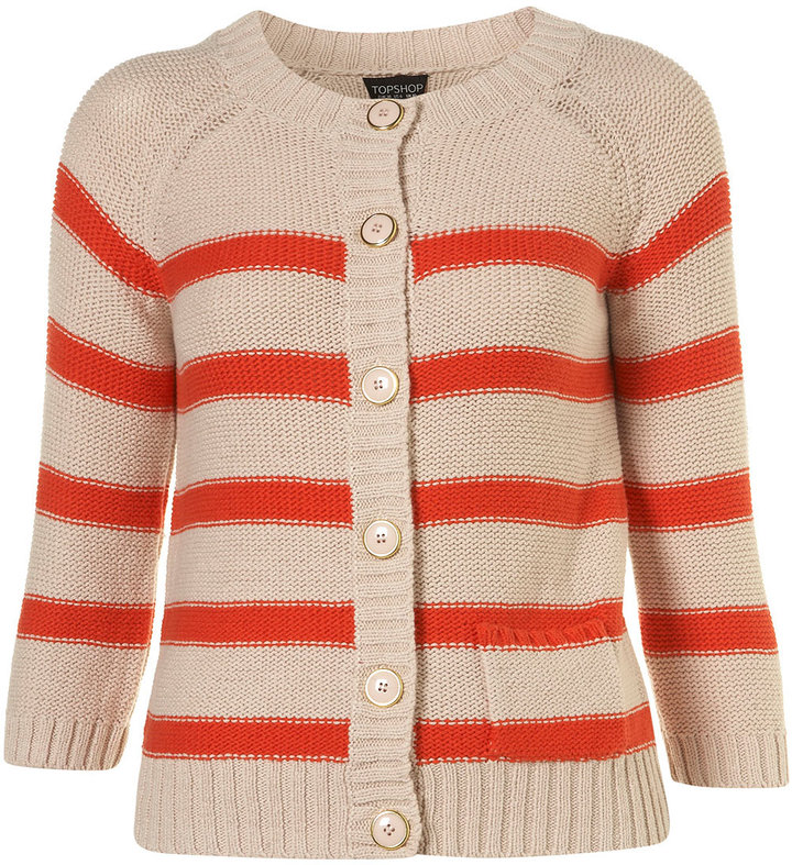 Knitted Bright Red Stripe Cotton Cardigan