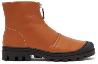 Loewe Zip Front Leather Ankle Boots - Womens - Tan
