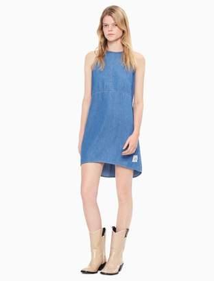 Calvin Klein light denim tie back sleeveless dress