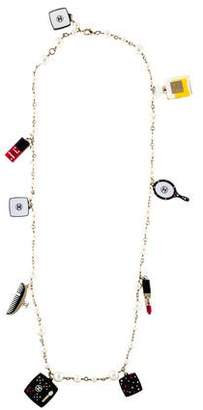 Chanel Cosmetic Charms & Faux Pearl Station Necklace