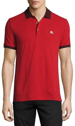 Burberry Camberwell Contrast-Trim Cotton Piqué Polo Shirt, Dark Red $195 thestylecure.com