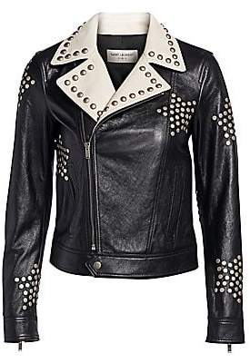 Saint Laurent Women's Two-Tone Leather Studded Moto Jacket