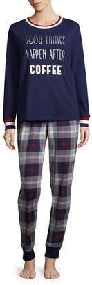 Asstd National Brand Peace Love & Dreams Womens Pant Pajama Set 2-pc. Long Sleeve