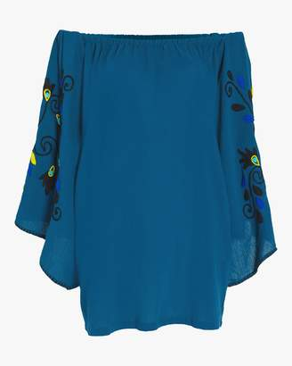Sensi Studio Mini Embroidered Off The Shoulder Dress