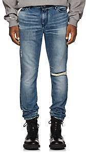 RtA Men's Reflective-Striped Distressed Skinny Jeans - Dk. Blue