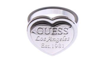 GUESS (ゲス) - ゲス GUESS FOLLOW MY CHARM HEART & GUESS LA SCRIPT RING (SILVER-50)