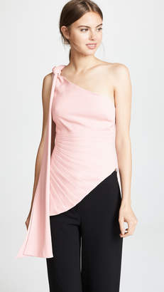 Brandon Maxwell Fan Pleat One Shoulder Top