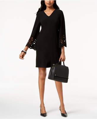 Alfani V-Neck Lasercut A-Line Dress