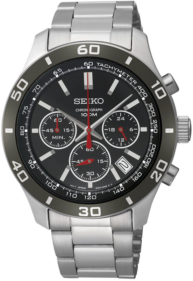 Seiko Watch, Men's Chronograph Stainless Steel Bracelet 42mm SSB077