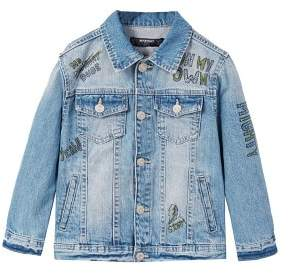 MANGO Printed medium denim jacket