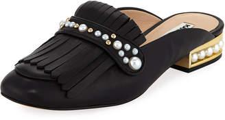 Karl Lagerfeld Paris Becky Metallic Leather Kiltie Mule Loafer