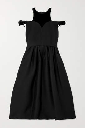 Fendi Cold-shoulder Velvet-trimmed Wool And Silk-blend Midi Dress - Black