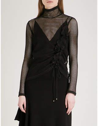 Mo&Co. Ruffled high neck cotton-mesh top