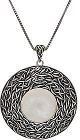 MOP Or Paz Sterling Silver TexturedPendant w/Chain
