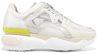 Fendi Pvc, Mesh And Textured-leather Sneakers - White