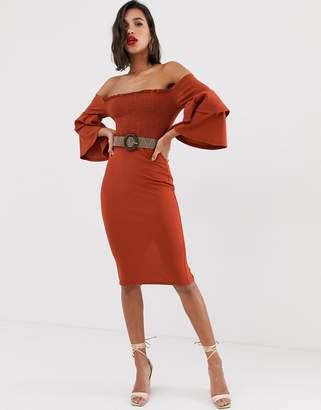 Bardot Asos Design ASOS DESIGN off shoulder shirred belted midi dress