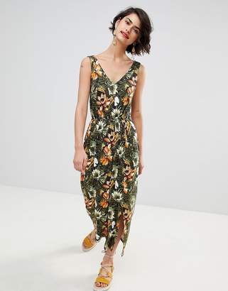 Warehouse Toucan Tropical Print Maxi Dress