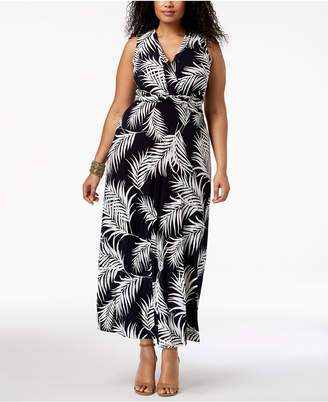 Jessica Howard Plus Size Palm-Print Maxi Dress