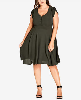 City Chic Trendy Plus Size Cap-Sleeve A-Line Dress
