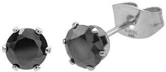 JCPenney FINE JEWELRY Black Cubic Zirconia 6mm Stainless Steel Stud Earrings