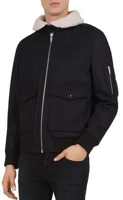 The Kooples Faux-Shearling Collar Zip Jacket