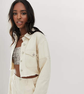 Missguided Tall co-ord denim cropped jacket in ecru