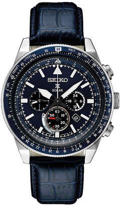 Seiko Chronograph Mens Blue Strap Watch-Ssc631