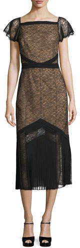 MICHAEL Michael Kors Michael Kors Cap-Sleeve Lace Midi Dress, Black