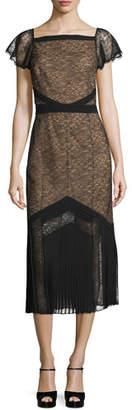Michael Kors Cap-Sleeve Lace Midi Dress, Black $3,995 thestylecure.com